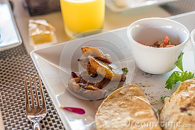 Mexican quesadilla breakfast with plantains