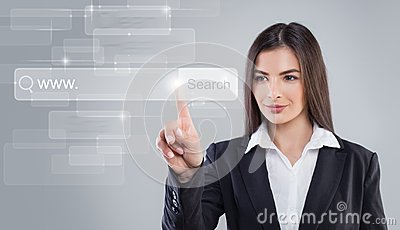 Young Woman Pointing. WWW and Web Surfing