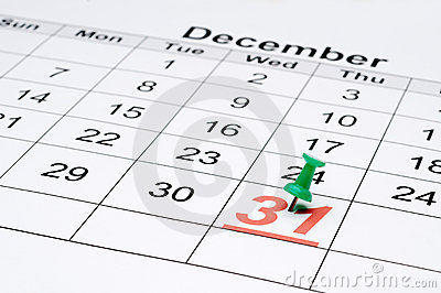 A calendar with New Year's eve marked