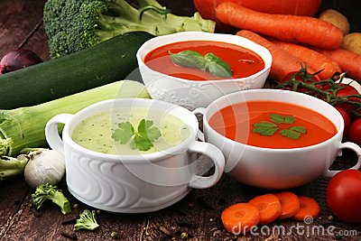 Variety of colorful vegetables cream soups and ingredients for s