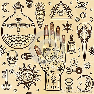 Seamless color pattern: human hands in tattoos, alchemical symbols. Esoteric, mysticism, occultism.
