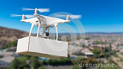 Unmanned Aircraft System UAS Quadcopter Drone Carrying Blank Box