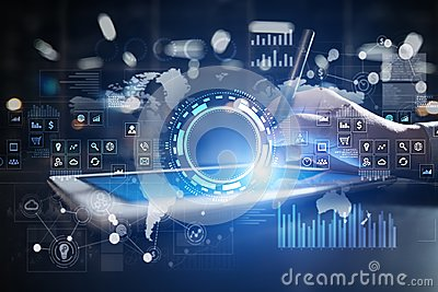 stock image of internet, business and technology concept. icons, diagrams and graphs background on virtual screen.