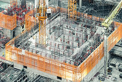 Top view of an under construction building. Civil engineering, industrial development project, tower basement infrastructure
