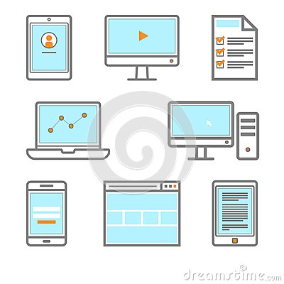 Digital gadget icon Smartphone, monitor, PC, browser, tablet, bookreader, ebook icon.
