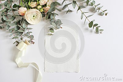 Wedding, birthday mock-up scene with floral bouquet of Persian buttercup, Ranunculus flower, pink roses, eucalyptus