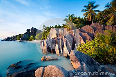 Beach of Anse Source d'Argent on La Digue island in Seychelles