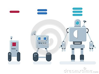 stock image of evolution of robots