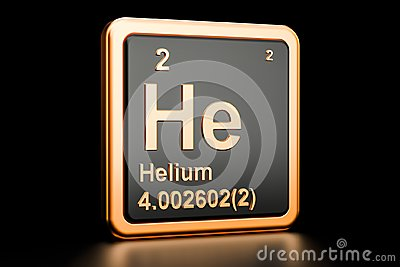 Helium He chemical element. 3D rendering
