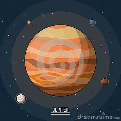Colorful poster of the planet jupiter in the space with moons around