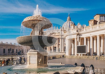 Vatican City, Rome, Saint Peters Basilica in St. Peter`s Square