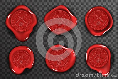 Wax seal stamp red certificate sign transparent background mockup icons set 3d realistic design vector illustration