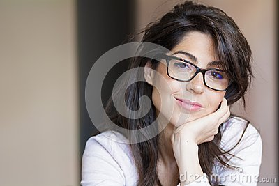 Portrait of Beautiful Young Woman with Modern Eyeglasses