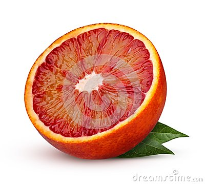 Half red blood orange with leaves isolated on white background.