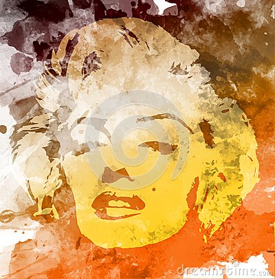 Marilyn Monroe portrait, watercolor style , hand drawing on the wall