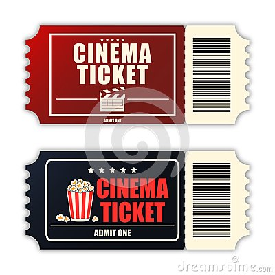 Cinema ticket set. Template of two realistic movie tickets isolated on white background. Vector.