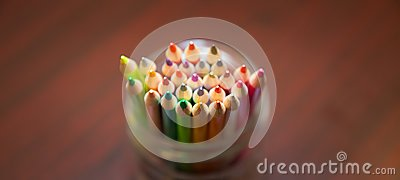 Organized color pencil in a clear jar