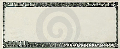 blank 100 Dollars bank note with copyspace