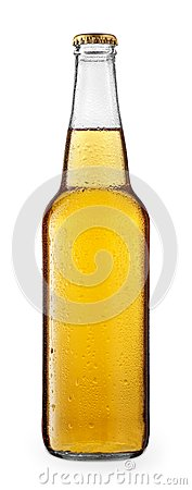 Cold beer or cider in glass bottle