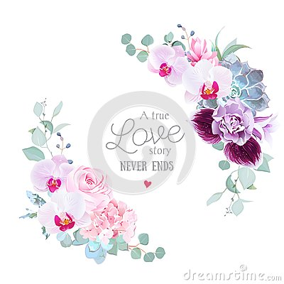 Floral vector round frame of purple orchid, pink rose, hydrangea