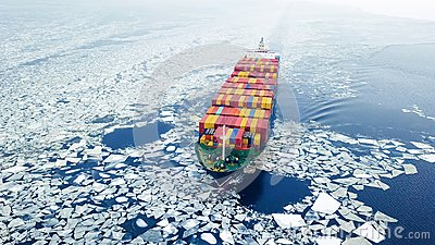 Container ship in the sea at winter time