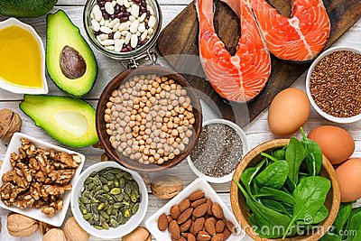 Food rich in omega 3 fatty acid and healthy fats. Healthy diet eating concept