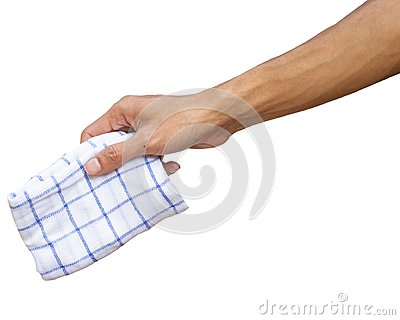 Man hand holding handkerchief or Table wipes isolated on white.