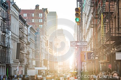 Crowded streets and sidewalks of SoHo in New York City