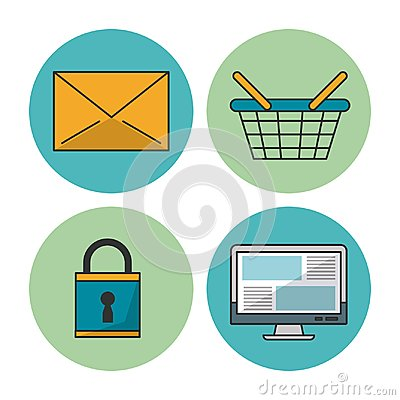 White background with colorful circular frames with icons of e-commerce and shopping as mail envelope and basket and