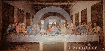 The Last Supper by Leonardo da Vinci in the refectory of the Convent of Santa Maria delle Grazie, Milan black and white