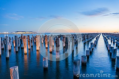 Old wooden pylons of historic Princes Pier in Port Melbourne