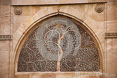 Carving details on the outer wall of the Sidi Sayeed Ki Jaali Mosque, Built in 1573, Ahmedabad, Gujarat