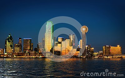 City of downtown Dallas Texas at dusk