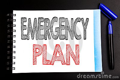 Handwritten text showing Emergency Plan. Business concept writing for Disaster Protection Written on notepad note paper, black bac