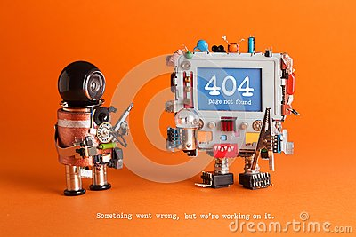 404 error page not found. Serviceman robot with screw driver, robotic computer warning message on blue screen. Orange