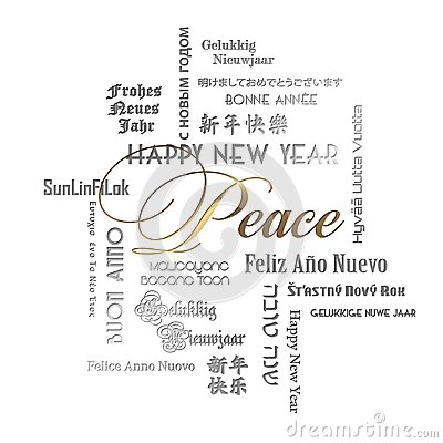 New Years Card Art Peace Lettering Languages