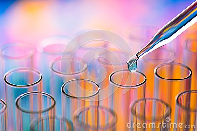 stock image of science laboratory test tubes , lab equipment for research new m