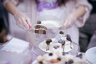 Delicious chocolate slice of cake with cream and blackberries and Different appetizing confectionery, hands of