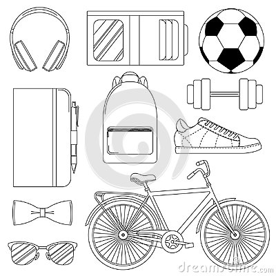 Set of vector illustrations - men`s way of life.