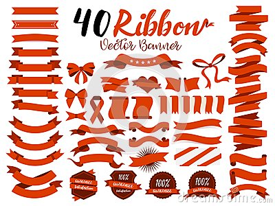 stock image of 40 red ribbon vector illustration with flat design. included the graphic element as retro badge, guarantee label, sale tag, discou