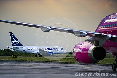 Commercial passenger jet airliner Boeing 737 of the Romanian Tarom Airline