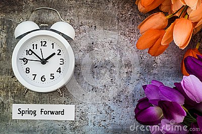 Daylight Savings Time Spring Forward concept flat lay