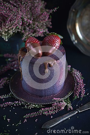 Cake with berries, covered with blue-violet glaze and chocolate with flowers, Cosmic cake, Hand Made pastry, Dark background, Sele