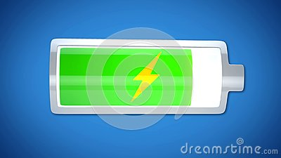 stock image of almost finished battery charging, energy supply, short lifespan of electronics