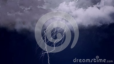 Severe thunderstorm and intense lightning in the night sky, meteorology, climate