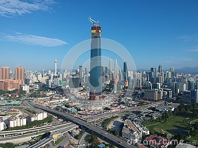 KUALA LUMPUR, MALAYSIA - 4 February 2018: Beautiful and dramatic aerial view of Kuala Lumpur city with new skyscraper under constr