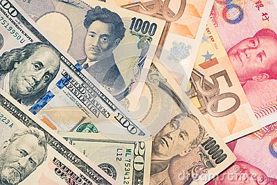 Currencies and money exchange and international trading concepts