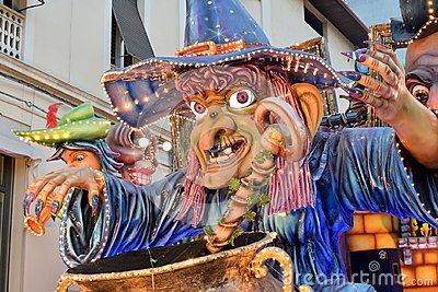 Allegorical float depicting witch