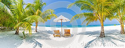 Summer travel destination background panorama. Tropical beach scene