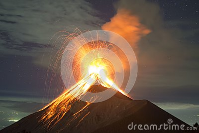 Volcano Fuego explosion in Guatemala, captured from the top of the Acatenango
